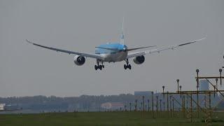 [4K] PH-BHA | KLM Boeing 787-9 Landing Amsterdam Runway 18R | 6 May 2016