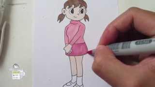 How to draw Shizuka from Doraemon 静ちゃん