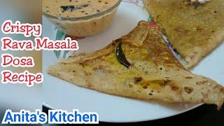 How to make Crispy Rava Masala Dosa | Rava masala Dosa recipe | South indian recipe