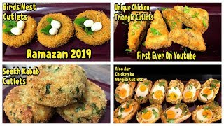 4 Unique Cutlets Recipe's For Ramazan 2019 By Yasmin Cooking