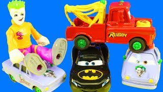 Disney Cars 3 Batman Lighting McQueen And Robin Mater Take On Imaginext Joker Lemons
