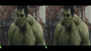 VR video cardboard - Hulk vs Hulkbuster, Captain America vs Ultron P2 [3D Side By Side]