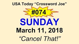 """#074 USA Today Crossword """"Cancel That!"""" March 11, 2018"""
