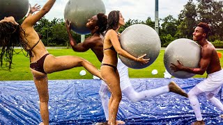 SHE GOT KNOCKED OUT! SLIP AND SLIDE DEATHBALL VS MY GF