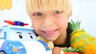 Robocar Poli meyve ve sebzeleri öğreniyor. Eğitici video