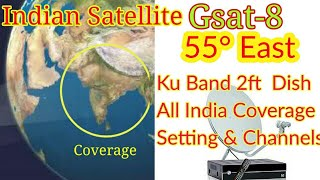 Gsat 8 at 55° East Dish Settings & Channels List. All India Small Dish Coverage