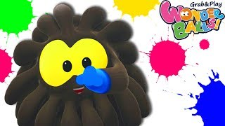 Learn Colors With Funny Cartoon Squishy Balls For Kids | Color Splash With Wonderballs Official