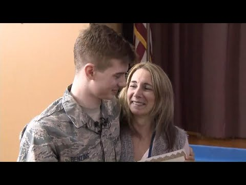 Air Force Man Surprises Mom During School Assembly