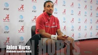 Alabama QB Jalen Hurts updates his progress during spring practice