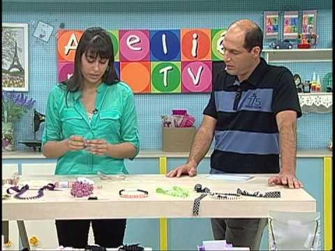 Fitas Progresso Colar com fitas Ateliê na TV Clube de Artesanato