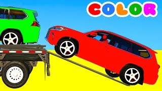 COLOR SUV Cars Transportation in Spiderman Cartoon 3D w Superheroes for babies and kids!