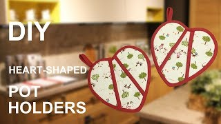 DIY heart-shaped Pot Holders | easy tutorial | sewing presents [sewingtimes]