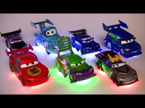Light Up Deluxe Die Cast Set Tuners DJ WIngo Lightning McQueen Mater Disney Pixar Cars Toons Toys