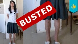 Cross-dressing day: Kazakhstan man dresses as his GF to take test for her - TomoNews