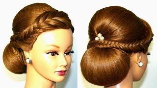 Wedding hairstyle for medium long hair, elegant updo.