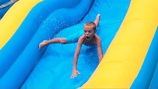 Kids HILARIOUS reaction on WATER SLIDE!