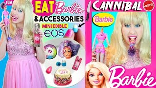 DIY Edible Barbie Doll, Phone Case, EOS, Beauty Blender, Foundation | Cannibal Barbie EATS Skipper!