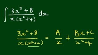 Integral 3x^2+8/x^3+4x by Partial Fraction Decomposition