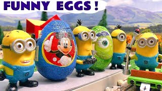 Minions funny Kinder Surprise Eggs Play Doh Thomas The Train Frozen Disney Mickey Mouse Play-Doh