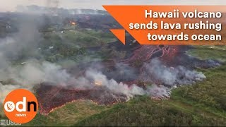 Hawaii volcano sends lava rushing towards ocean