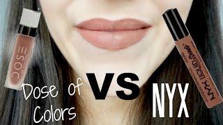 NYX Suede Lipstick VS Dose of Colors Matte Lipstick | Half/Half Review