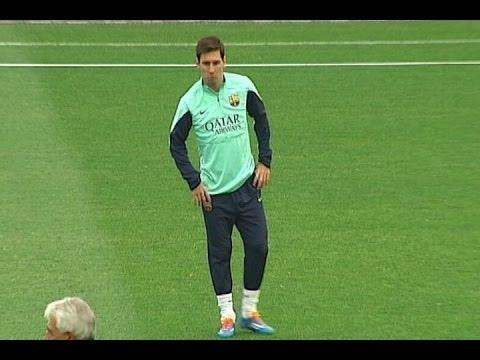 Messi pone la magia en el entrenamiento a puertas abiertas