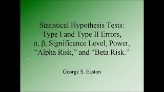 Six Sigma Statistics -- Hypothesis Tests: Type I and Type II Error, Alpha, Beta, and Power