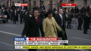 President Obama walks down Pennsylvania avenue during inaugural parade 2008 PART1 (16:9 HQ)