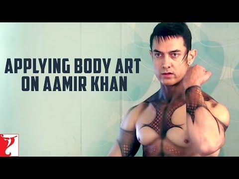 Applying Body Art on Aamir Khan | DHOOM:3