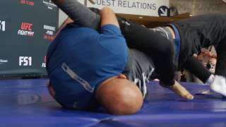 UFC Hall of Famer B. J. Penn works out for the fans at UFC Fight Night 103 open workouts