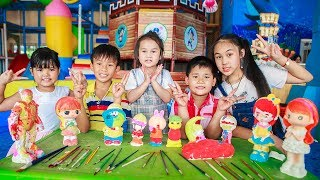 Kids Go To School | Chuns With Best Friends Play Color Statues The Children