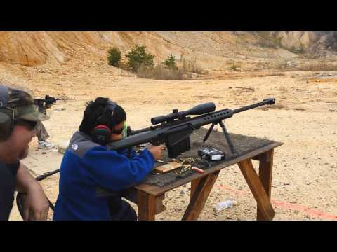 11 Year Old's First Time Shooting Barrett 50 Cal.