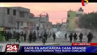 Enfrentamiento en azucarera Casa Grande deja dos policías heridos