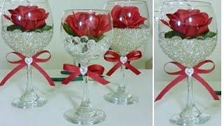DIY | BLING DOLLAR TREE WINE GLASS DECOR  | INEXPENSIVE DIY