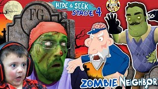 ZOMBIE HIDE n SEEK! FGTEEV Hello Neighbor! Stage 4 BRAINZZZZ (Gameplay / Skit)