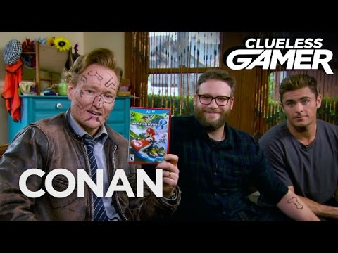 Clueless Gamer Mario Kart 8 With Seth Rogen & Zac Efron CONAN on TBS