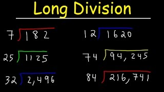 Long Division Made Easy, Examples With Large Numbers, Youtube Video Tutorial