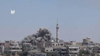 مشاهد للقصف الجوي العنيف على حي طريق السد بمدينة درعا 15 - 6 - 2017