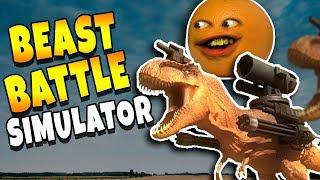 BEAST BATTLE SIMULATOR: LASER T-WRECKS!!! [Annoying Orange Plays]