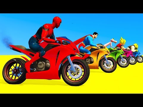 Xxx Mp4 LEARN COLORS For Children Spiderman Cars Cartoon Cycles Racing W Street Vehicles For Kids 3gp Sex