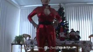 busty mature in shiny red suit