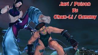 Juri & Poison vs Chun-Li & Cammy | Street Fighter x Tekken barefoot Battle | SFxT Mods