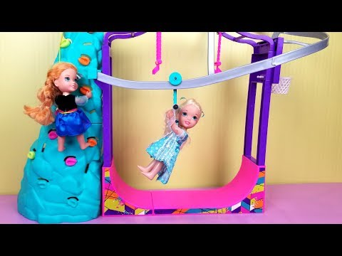 Indoor Play Place Elsa and Anna toddlers zip line foam pit Barbie playdate