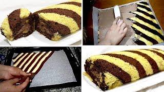 كيك رولي بشكل جديد الكيك هش جدا و محشي بكريمة الشوكولاتة اللذيدة