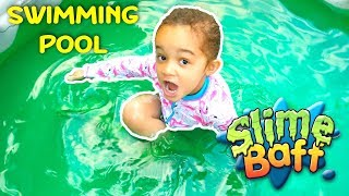 SUPER GROSS SLIME BAFF POOL CHALLENGE WITH TOY OPENING