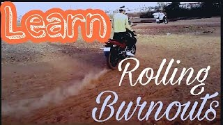 Pulsar 150 Rolling Burnout stunt / how to do rolling burnout in hindi