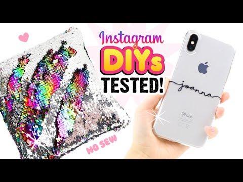TESTING INSTAGRAM DIYS Remaking Viral Craft Ideas DIY Phone Cases Notebooks Sequin Room Decor