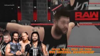 WWE Raw 2016 - Big Cass VS Seth Rollins VS Kevin Owens VS Roman Reigns (FATAL 4 WAY) Match HD
