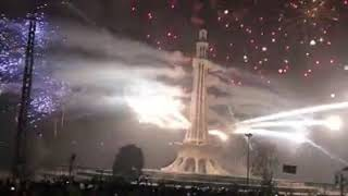 Fireworks at minar e Pakistan Lahore on 23rd March 2018
