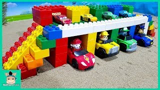 Cars toy videos for Children. Building bridge with truck, excavator. Songs for Kids   MariAndToys